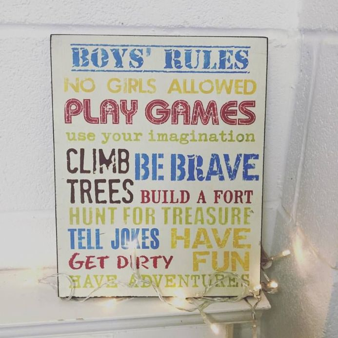 Boys Rules Colourful Hanging Sign